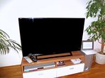 A large 40 inch (101,6 cm) Sony Bravia LCD TV with more than 200+ international digital TV channels.
