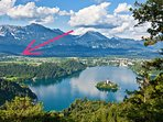 Lake Bled and the location of our apartment. It's a 10 minute drive from our apartment to the lake.