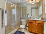Private Guest Bathroom off the 2nd Bedroom-Granite Count tops and Walk-In Shower
