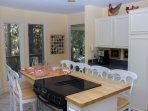 Kitchen island - butcher block - can seat 6 for breakfast, lunches