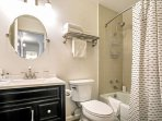 Guest bathroom, located just steps from the master bedroom.