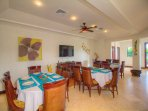 Colorful dining area at Villa Tranquila