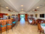 Enjoy group meals in this dining room