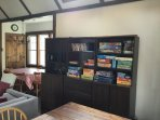 The living room is stocked with table games for ages 0-99