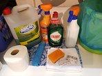 Debajo de la pica de la cocina encontrará todo lo necesario para la limpiar durante su estancia.
