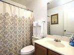 Upstairs guest bathroom. Same bathroom amenities. 2 rolls of TP per bathroom.