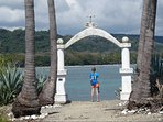 Looking back at The Howler Monkey Hotel from the arch on Cabuya Island