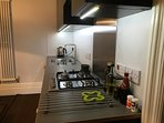 Dishwasher, electric oven, gas stove, microwave, toaster, kettle, cookware and tableware for 6