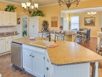 Serve appetizers at this spacious center island.