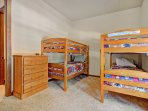 2 twin over twin bunk beds in the third bedroom