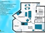 Sample floor plan of this spacious 'B' unit.  It's the most popular floor plan in Sunbird with a King bedroom on the...