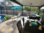 Our large cored patio has room for the whole family