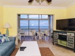 Spacious living room - all new furniture/furnishings, HD TV, view to lanai, beach and Gulf of Mexico