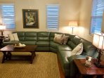 Living room with beautiful leather couch