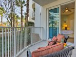 You'll have breezy palm tree views from the private ground-floor patio!