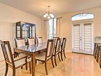 Savor homemade creations around the 8-person dining table.