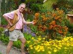 Richard admiring the Umbrella Bush