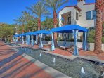 Cabanas along the main pool area offer comfort and shade at NO CHARGE - first come, first serve