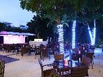 One of the nightly entertainment stage and sitting area with full bar services.