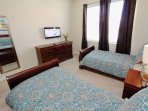 Downstairs Twin Bedroom w/Two Twin Beds & Flat Screen TV - View #2