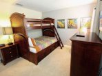 Upstairs Twin over Full Bunk Bed Room w/Flat Screen TV (Sleeps up to 3)