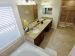 En-Suite Bath to Upstairs King Master Suite - Double Sinks, Garden Tub & Walk In Shower