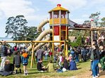 Features include: water play,  merry-go-round, trampoline, basket swing, hammocks, 10 metre tower..