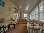 Spend mornings and evening lounging in the sunroom while sipping a refreshing beverage.