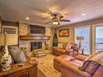 The cozy living room is the perfect place to unwind after a day on the lake.
