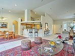 Persian rugs and high-end furnishings fill the home's 2,300-square-foot interior.