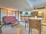 Enjoy home-cooked meals or freshly made cocktails at the 4-person table.