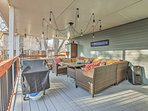 Just up the stairs you'll find an incredible shared deck space to entertain friends on.
