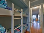 The kids will love sleeping in the bunk beds in the hallway.