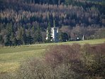 Close up of Balmoral Castle from Knock Cottage