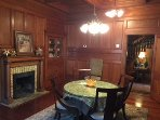 Cypress paneled Dining room. Opens up to wrap around veranda.