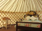 Our beautiful bedroom yurt at Greenland Glamping