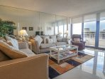 Sea Mar Living Room with Ocean View of Crescent Beach