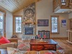 Look forward to curling up in front of the stone-mounted gas fireplace in the living area during your downtime.