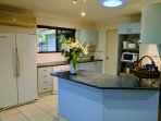 kitchen with large indoor fridge freezer combo