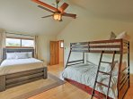 The third bedroom features a queen sized bed as well as a twin-over-full bunk bed!