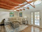 Beautiful wood beams add to the aesthetic and character of the home.
