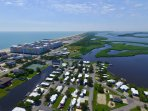 Drone/Aerial view looking south from above Bay Breeze Cottage!