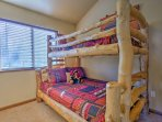 Great for kids, this bedroom offers a twin-over-full bunk bed.