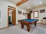 Game room with doors into bedroom #8 and ski room.