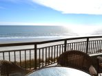 Oversized balcony with direct oceanfront views