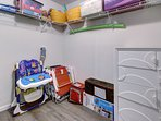Walk-in closet, Pack 'n Play Playard, Chairs, Cooler and Umbrella for the Beach