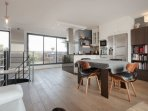top floor main living room and open kitchen, terrace on eiffel tower