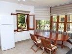 kitchen, view to swimming pool