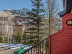 Spacious front balcony with amazing views of the ski slopes.