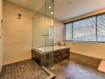 Enjoy a rinse in the walk-in shower or long soak in the built-in tub!